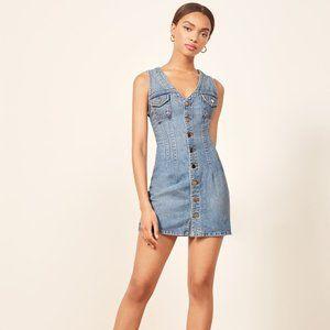Reformation Colby Mini Dress Denim Size 0